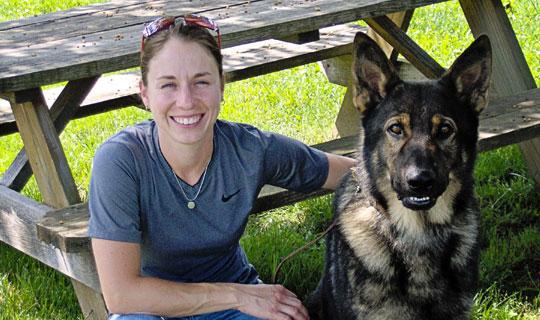jennie with trained german shepherd