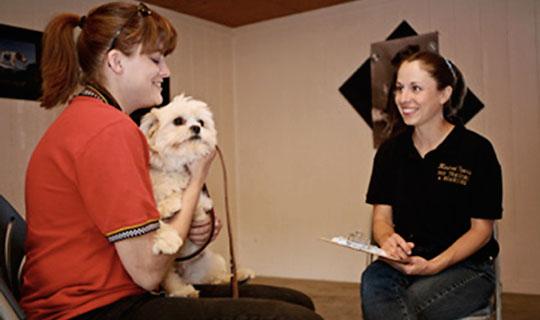 jennie jones, kindred spirits dog training owner, with pet owner